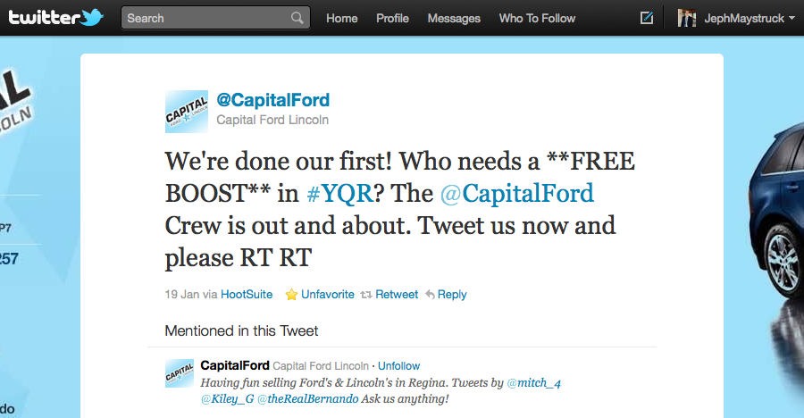 Capital Ford helping on Twitter