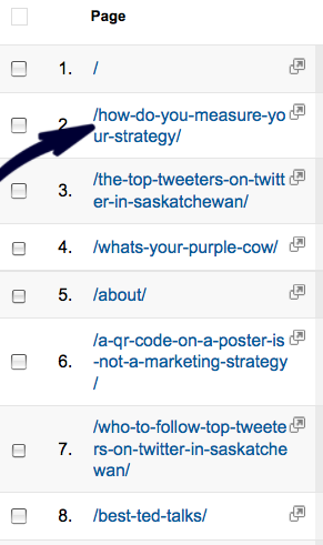 Select which page you want to see-google analytics