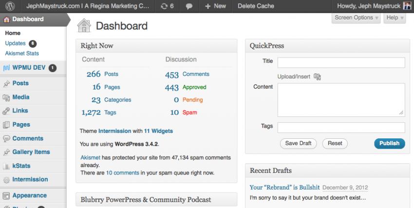 The wordpress dashboard