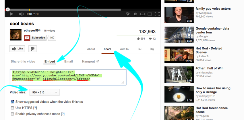 Youtube-share>embed>video size> copy