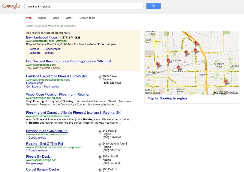 Google search result for Flooring in Regina