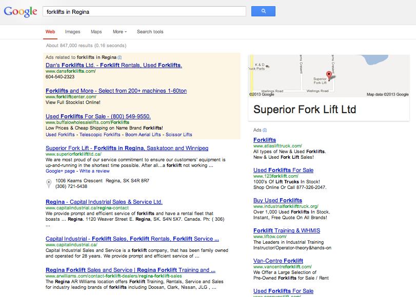 """Google Search Result for """"Forklift in Regina"""""""