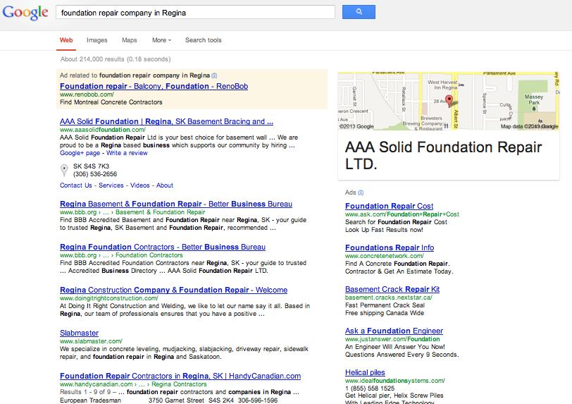 When you Google Foundation repair company in regina