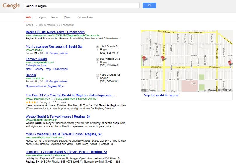 Google search result for Sushi in Regina