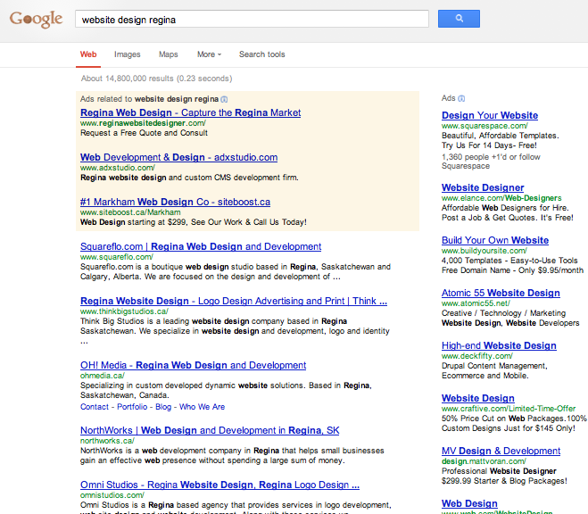 Google Results for Website Design Regina