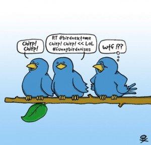 Twitter birds RTing