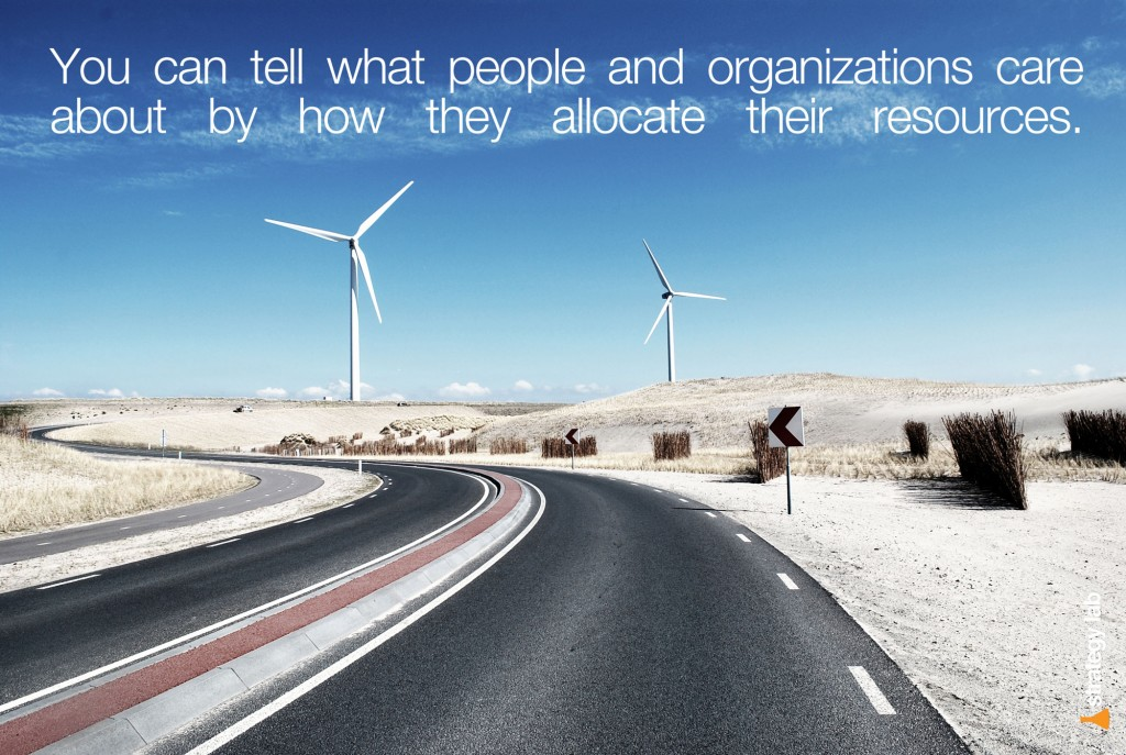 You can tell what people and organizations care about by how they allocate their resources.