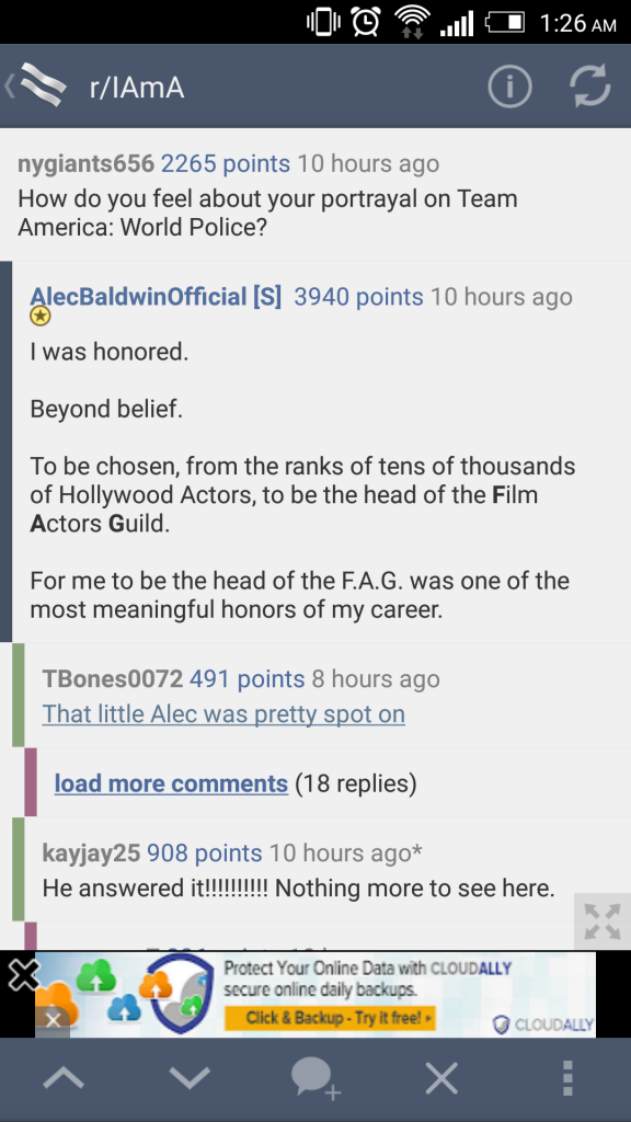 Alec Baldwin answer in an Ask me anything on reddit