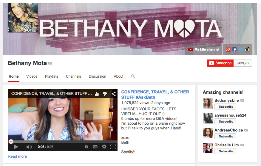 Bethany Mota's Youtube channel 8.4 million subscribers