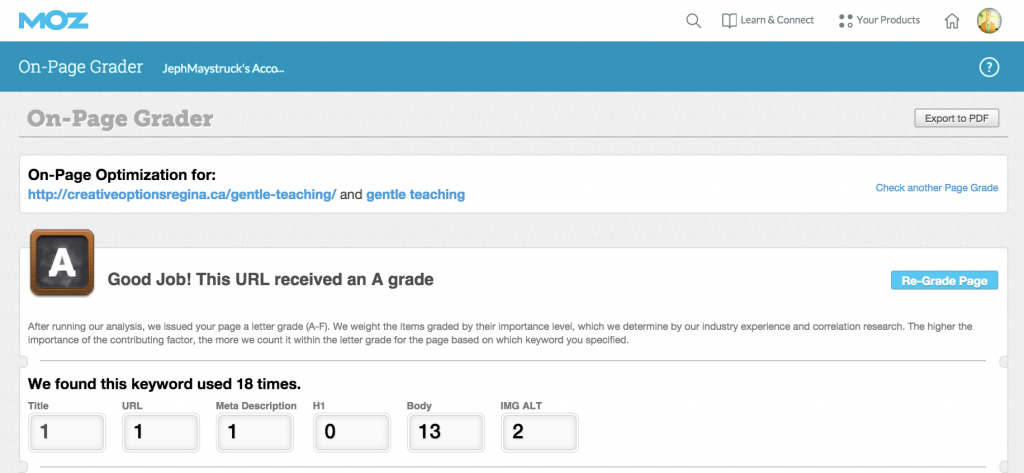 Onpage grade for COR-Gentle Teaching page for keywords gentle teaching