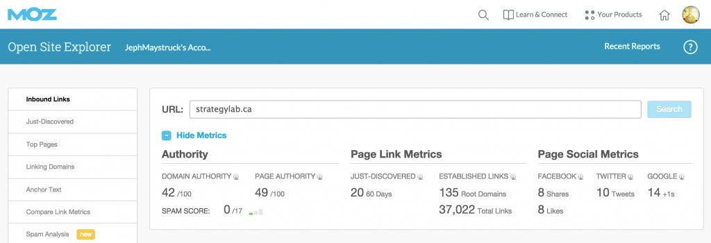 Open Site Exporer strategylab website metrics