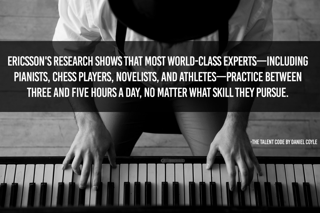 World class experts practice between three and five hours a day, no matter what skill they pursue