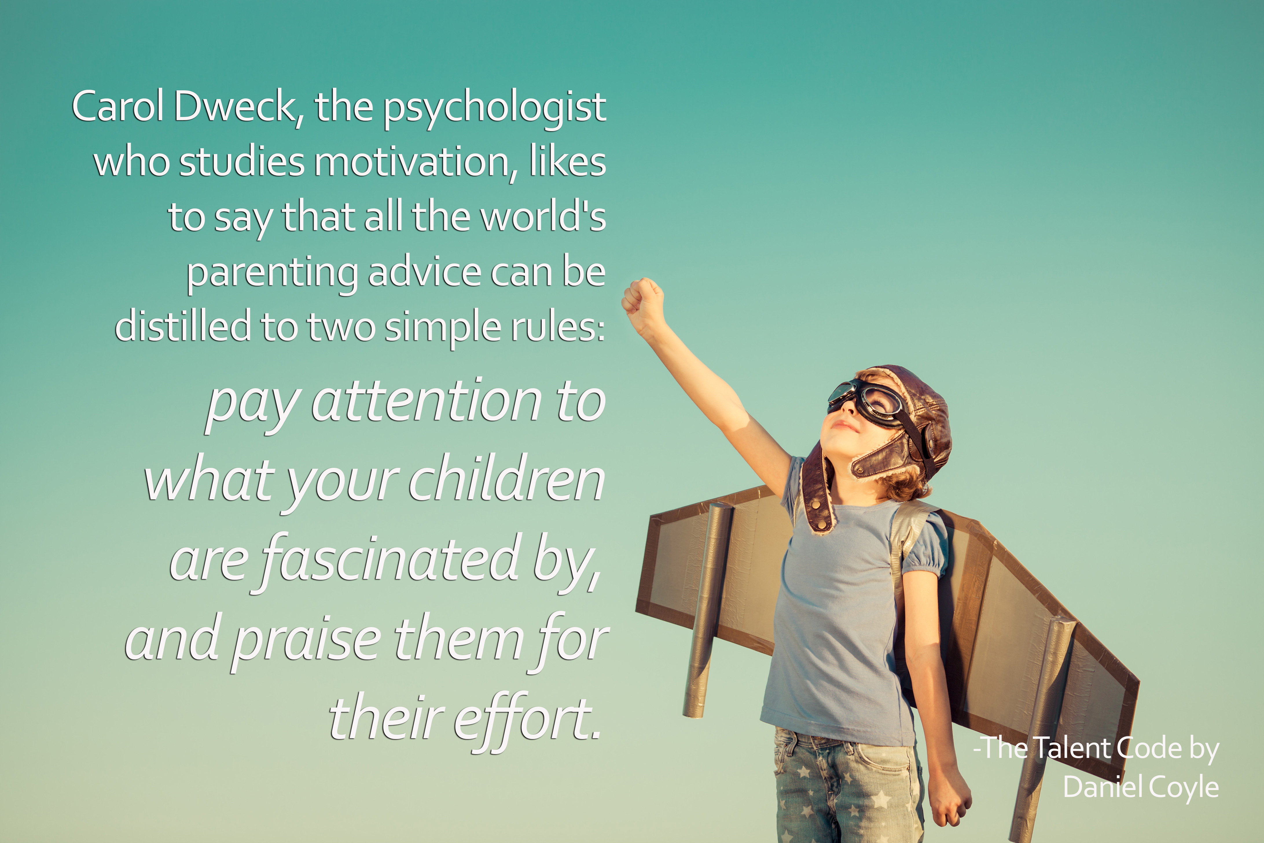 pay attention to what your children are fascinated by and praise them for their effort