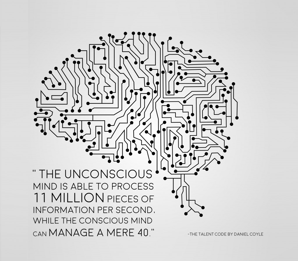 the unconscious mind is able to process 11 million pieces of information per second, while the conscious mind can manage a mere 40