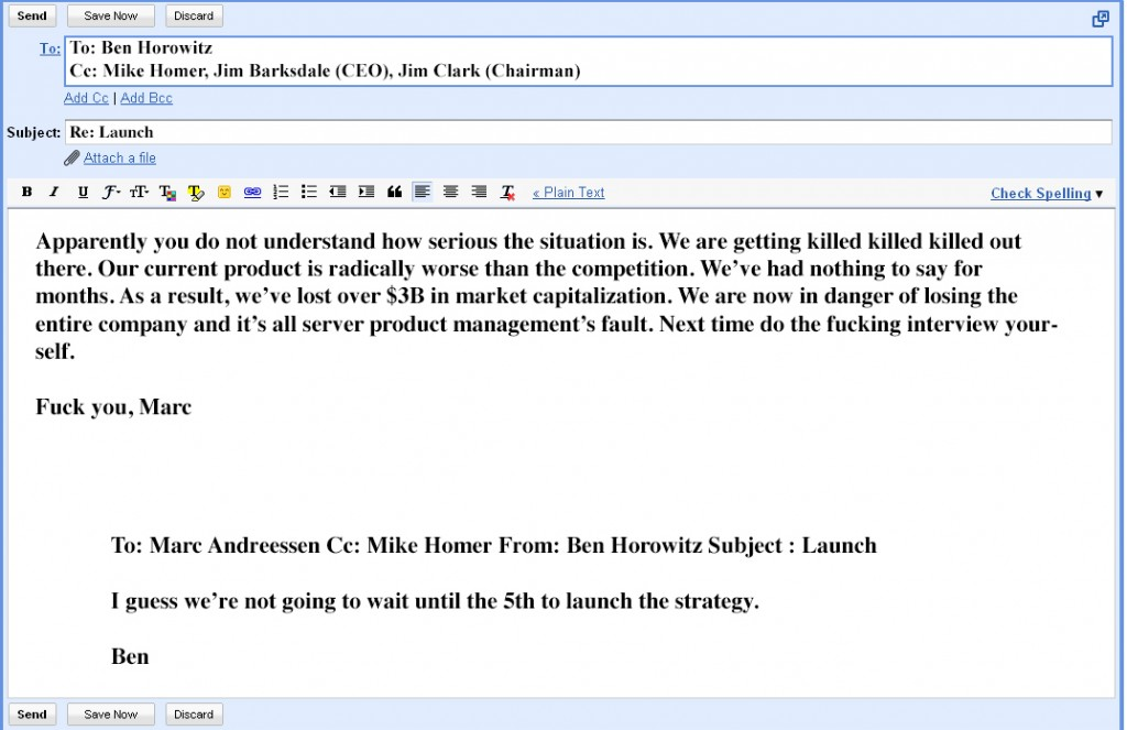 Email from Marc Andresson to Ben Horowitz
