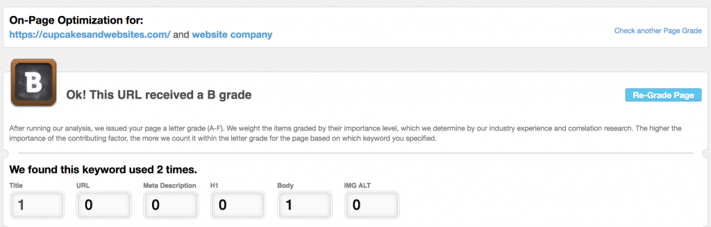 On-page optimization for website company cupcakes and websites