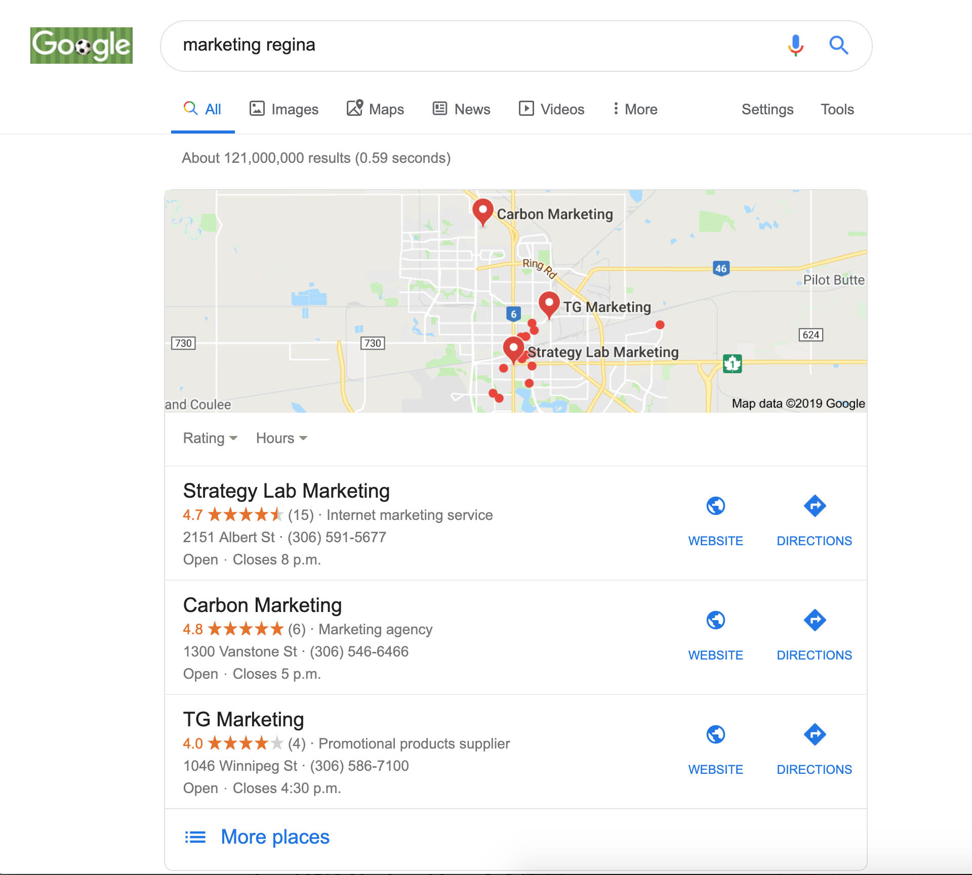 Google Map for Marketing Regina