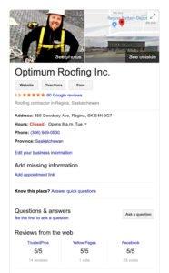 Optimum Roofing's google reviews copy