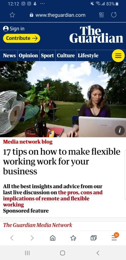Screenshot of the Guardian link