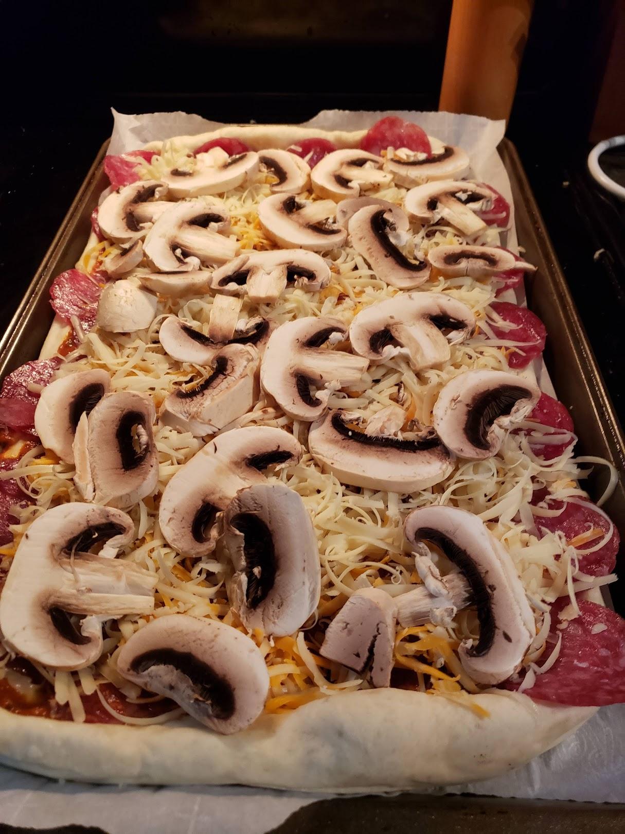 mushrooms on top